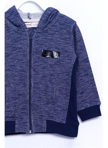 Silversun Kids Kapşonlu Sweat Shirt Örme Uzun Kollu Kapşonlu Armalı Fermuarlı Cepli Sweatshirt Erkek Çocuk Jm 210681 Lacivert